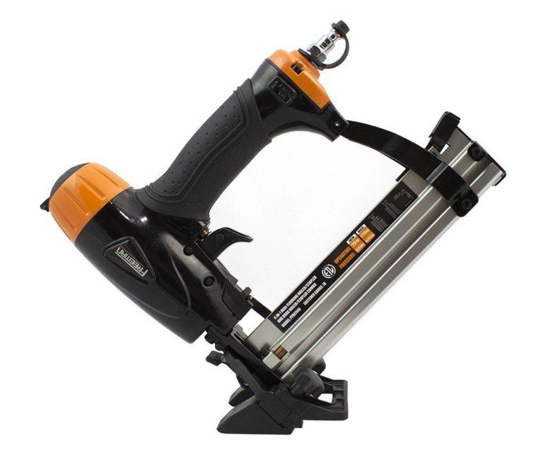 Freeman PFBC940 Pneumatic 4-in-1 18-Gauge 1-5/8 Mini Flooring Nailer and Stapler Ergonomic and Lightweight Flooring Nail Gun with Tool-Free Quick Release Latch